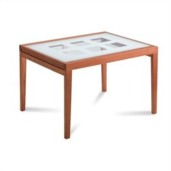 Domitalia Poker-120 Dining Table in Cherry Brown and White