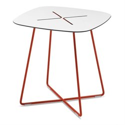 Domitalia Cross Square Low End Table in Red