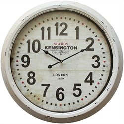 Yosemite Circular Skip Movement Wall Clock Distressed White Frame