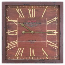 Yosemite Square Skip Movement Wall Clock with Distressed Red Frame