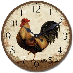Yosemite Circular Wooden Skip Movement Wall Clock with Rooster Print