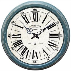 Yosemite Circular Iron Wall Clock with Distressed Blue Iron Frame