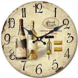 Yosemite Circular Wooden Wall Clock with Two Bottles Of Wine Print