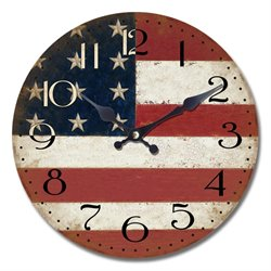 Yosemite Circular Wooden Wall Clock with American Flag Print