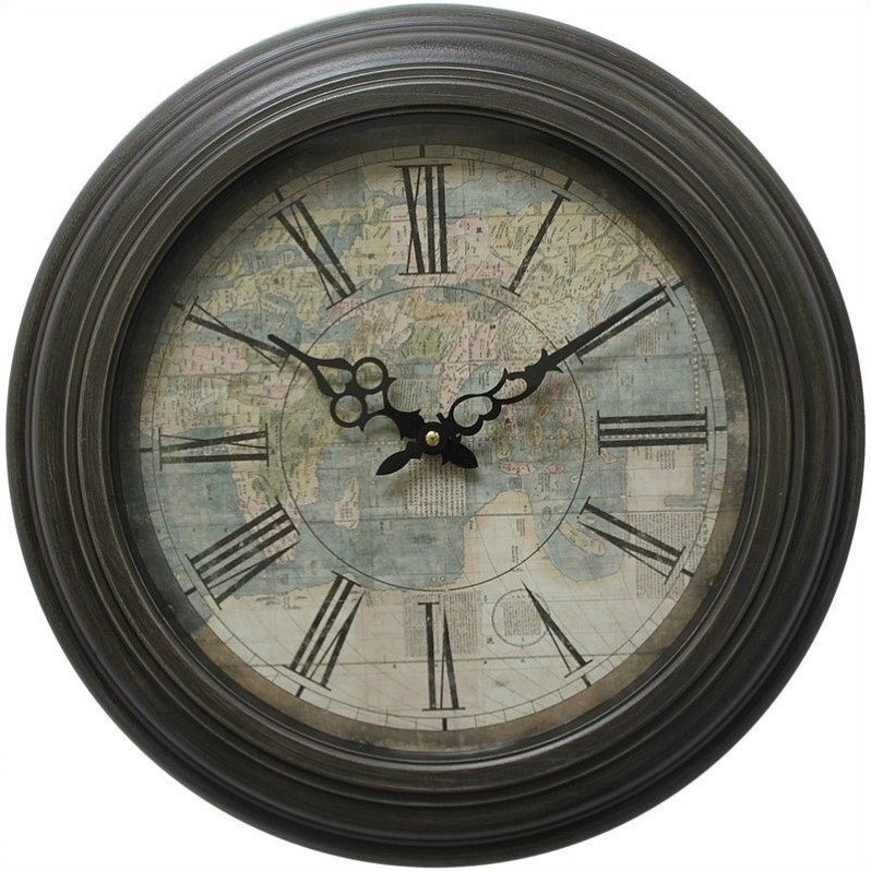 Yosemite Circular Iron Wall Clock with Map Print and Black Iron Frame
