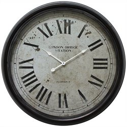 Yosemite Circular Iron Wall Clock with Black Distressed Iron Frame