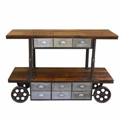Yosemite Media Display Cabinet with Aged Gray Metal Accents