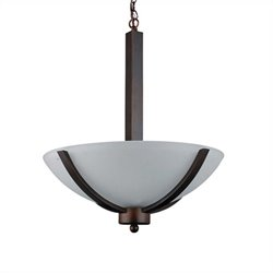 Yosemite Home Decor Alta Peak 3 Light Bowl Chandelier in Coffee with Acid Wash Glass
