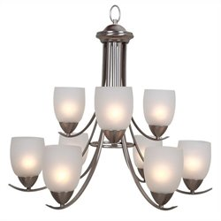Yosemite Home Decor Mirror Lake 9 Lights Chandelier in Brushed Nickel