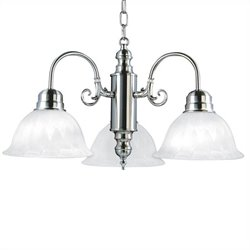 Yosemite Home Decor Manzanita 3 LightsChandelier with Shade in Satin Nickel