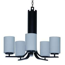 Yosemite Home Decor Panorama Trail 5 Light Chandelier in Ebony Bronze with Dove White Glass