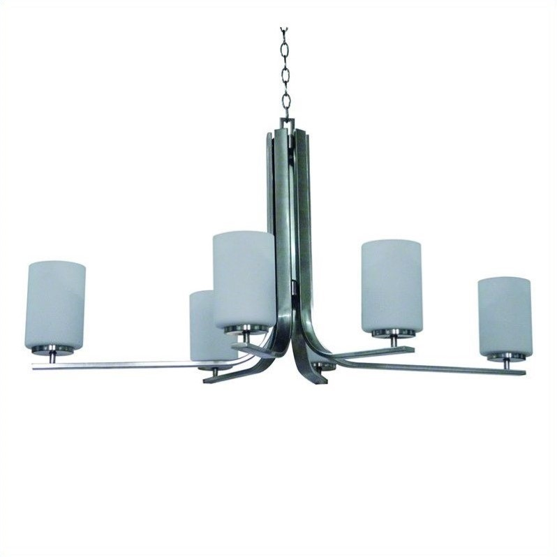 Yosemite Home Decor Panorama Trail 6 Light Chandelier in Satin Steel with Dove White Glass