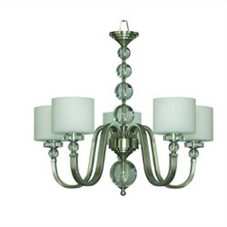 Yosemite Home Decor Mitchell Peak 5 Light Chandelier in Satin Steel with Dove White Glass