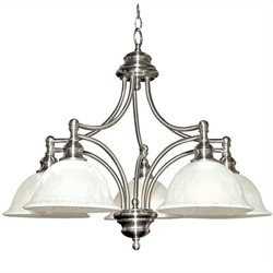 Yosemite Home Decor Broadleaf 5 Lights Chandelier with Shade in Satin Nickel