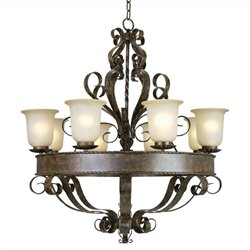 Yosemite Home Decor Mckensi 8 Lights Chandelier with Shade in Bronze Patina