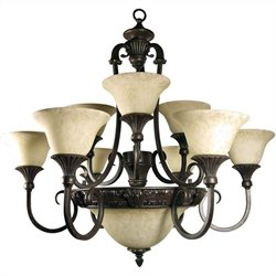 Yosemite Home Decor Verona 12 Lights Chandelier with Shade in Sienna Bronze