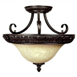 Yosemite Home Decor Verona 3 Lights Semi-Flush Mount in Sienna Bronze