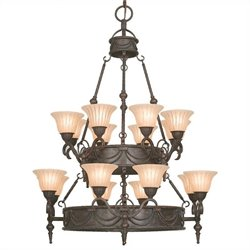 Yosemite Home Decor Isabella 16 LightsChandelier with Shade in Earthen Bronze