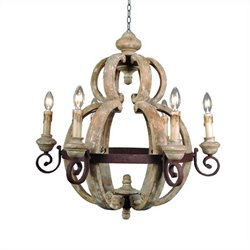 Yosemite Home Decor Mallow 6 Lights Chandelier in Antique White