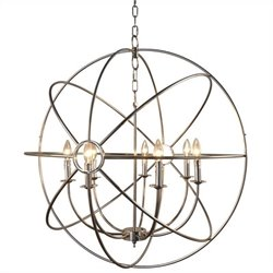 Yosemite Home Decor Shooting Star 7 Lights Mini Chandelier in Nickel