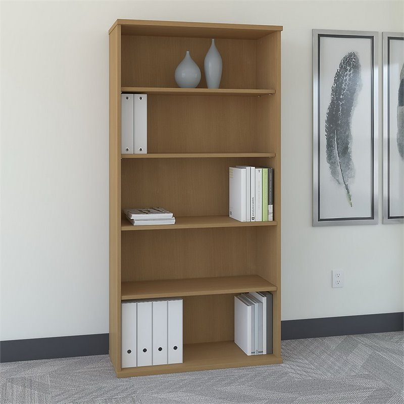 Bush Business Furniture Series C 36W 5-Shelf Bookcase in Light Oak
