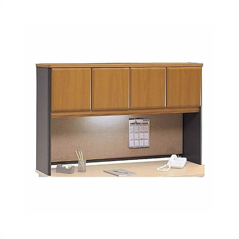 Bush Business Furniture Series A RH L Shape Office Set Natural Cherry