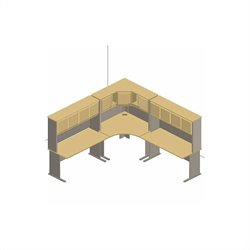 Bush BBF Series A 6-Piece L-Shape Corner Desk Set with Hutches in Beech
