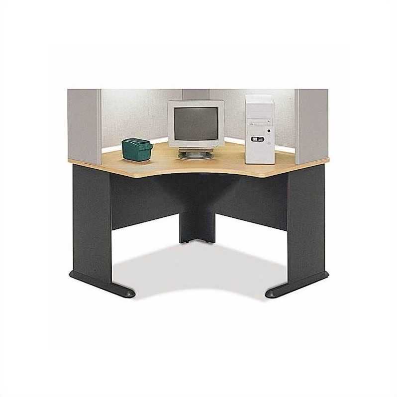 Bush BBF Series A 9-Piece 2-Person Corner Office Cubicle Set in Beech
