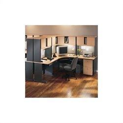 Bush BBF Series A 28-Piece Workstation Desk Set in Beech