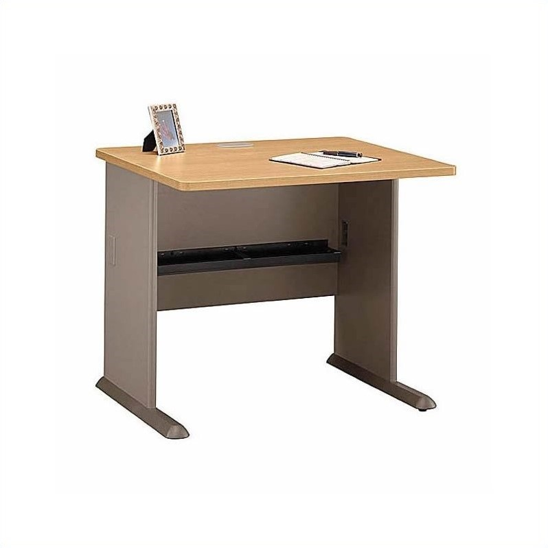 Bush BBF Series A 6-Piece 2-Person Workstation Desk Set in Light Oak