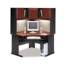 Bush BBF A-Series Corner Wood Office Desk with Hutch in Hansen Cherry