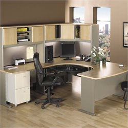 Bush BBF Series A 5-Piece U-Shape Bow-Front Corner Desk Set in Light Oak