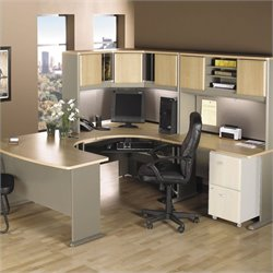 Bush BBF Series A 5-Piece U-Shape Corner Desk in Light Oak
