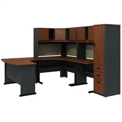 Bush BBF Series A Hansen Cherry U-Shaped Desk with Hutch and Storage