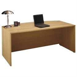 Bush Business Furniture Series C 72W Bow Front Desk Shell in Light Oak