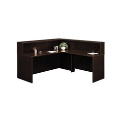 Bush BBF Series C L-Shape Reception Desk in Mocha Cherry