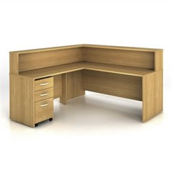 Bush BBF Series C 4-Piece L-Shape Reception Computer Desk in Light Oak