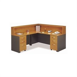 Bush BBF Series C 5-Pc. L-Shape Reception Computer Desk in Natural Cherry