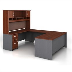 Bush BBF Series C 5-Piece U-Shape Computer Desk in Hansen Cherry