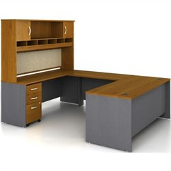 Bush BBF Series C 5-Piece U-Shape Executive Desk Set in Natural Cherry