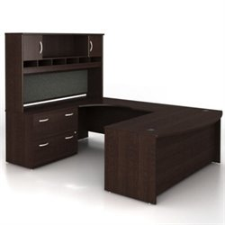 Bush BBF Series C 4-Piece U-Shape Bow-Front Desk Set in Mocha Cherry