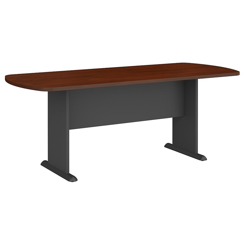 Bush Business Furniture Racetrack Conference Table in Hansen Cherry