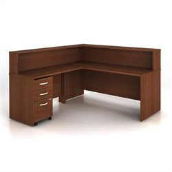 Bush BBF Series C 4-Piece L-Shape Computer Desk in Mahogany