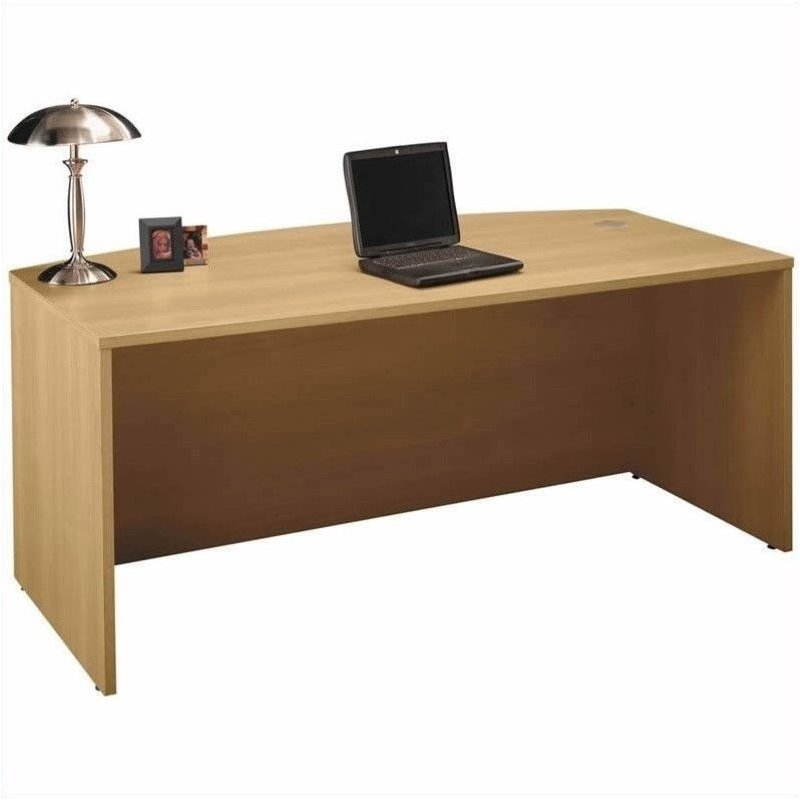 Bush BBF Series C 6-Piece Bow-Front Desk Office Set in Light Oak