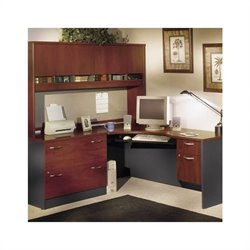 Bush BBF Wood L-Shaped Desk Set with Hutch in Hansen Cherry Finish