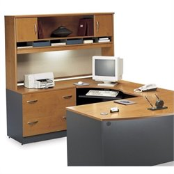 Bush BBF Series C Natural Cherry Left L-Shaped Desk