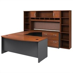Bush BBF Series C 6-Piece U-Shape Right-Hand Corner Desk in Hansen Cherry
