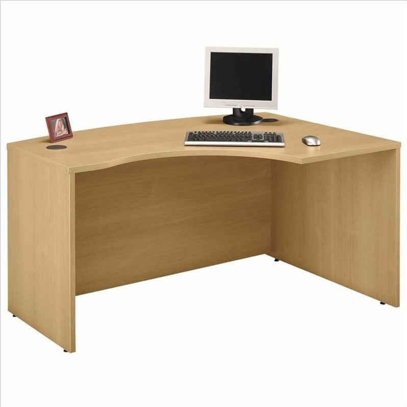 Bush BBF Series C 4-Piece U-Shape Right-Hand Bow-Front Desk in Light Oak