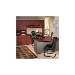 Bush BBF Series C 7-Piece U-Shape Bow-Front Desk Set in Hansen Cherry