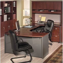 Bush BBF Series C 4-Piece Right-Hand Bow Front Desk Set in Hansen Cherry
